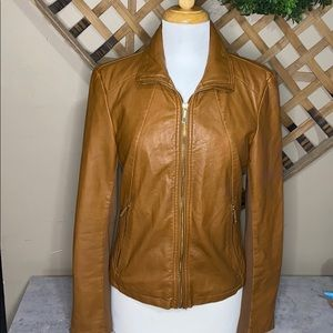 Kenneth Cole Reaction Faux Leather Jacket Camel